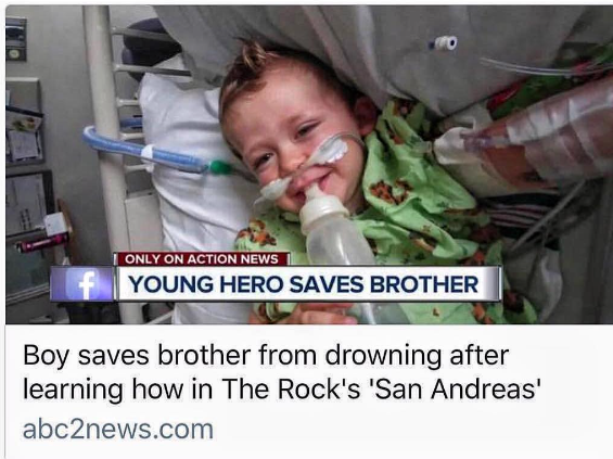 The Rock commends 10 year old boy who saved his brother from drowning by using technique he saw The Rock use in a movie