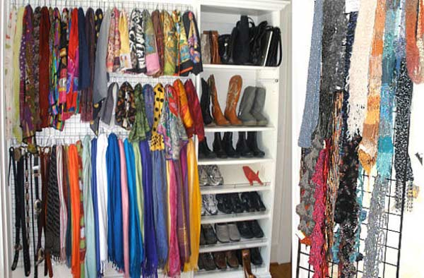 creative scarf display and storage