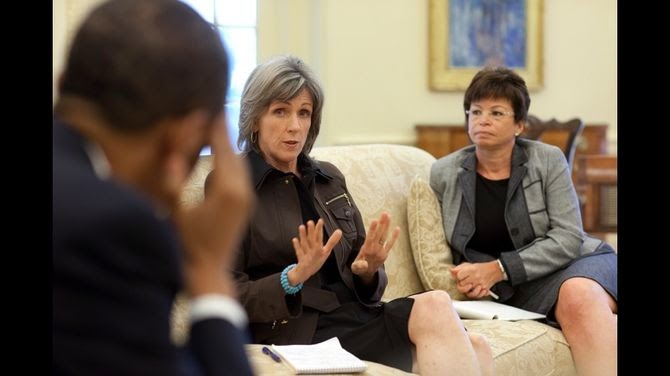 President Barack Obama is briefed by Carol Browner, assistant to the President for energy and climate change, on the response to the BP oil spill in the Gulf of Mexico, during a meeting in the Oval Office, June 1, 2010. Senior Advisor Valerie Jarrett is pictured at right. (Official White House Photo by Pete Souza) (Photo Credit: Wikipedia)  Click to enlarge.