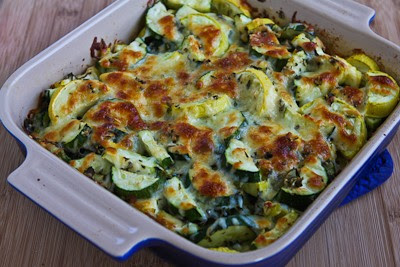 Easy Cheesy Zucchini Bake found on KalynsKitchen.com