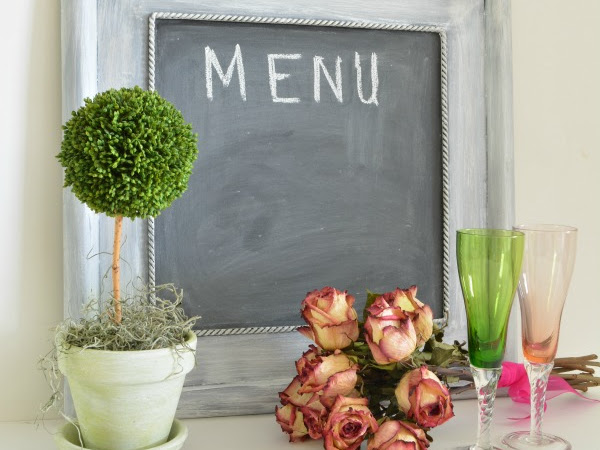 Chalkboard Menu with Oyster Shell Patina Using Chalk Paint