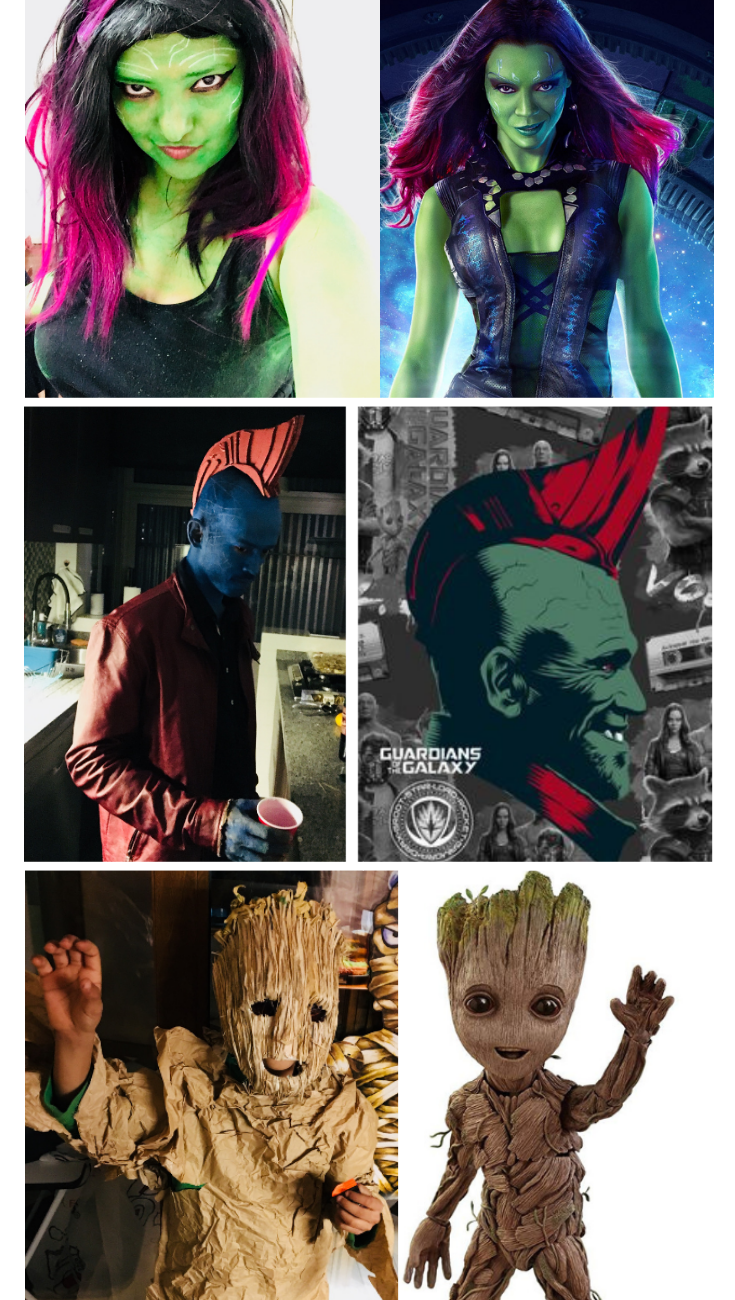 Practical Mom DIY Halloween Costume Guardians of the Galaxy: Gamora, Yondo & Groot