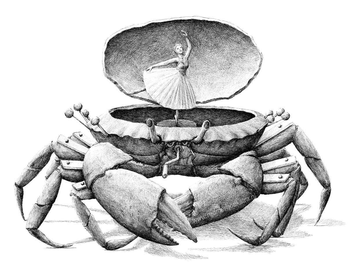18-Crab-Musical-Box-Redmer-Hoekstra-Drawing-Fantastic-and-Surreal-World-of-Hoekstra-www-designstack-co