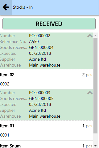 partial receivng in purchase orders