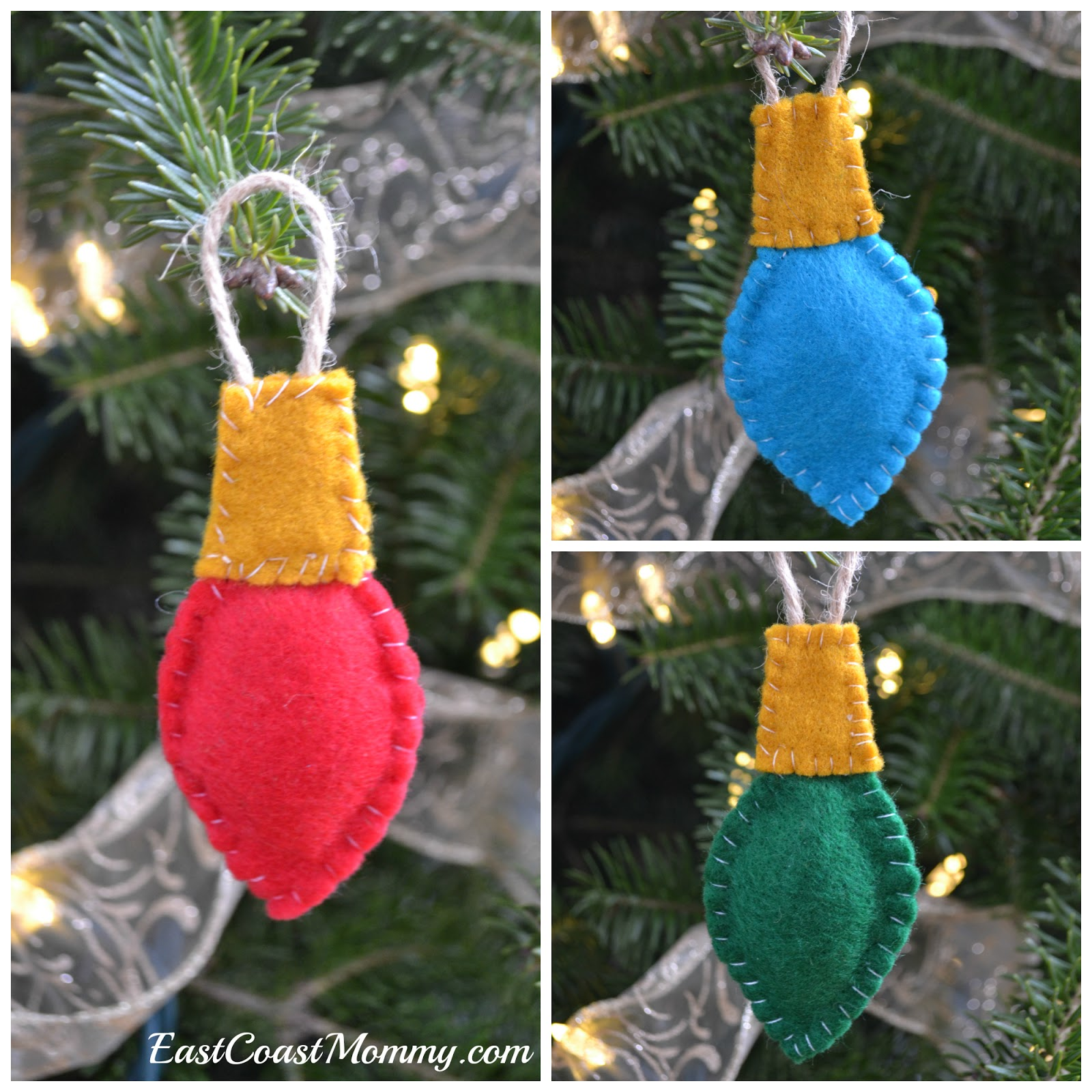 Christmas Light Bulb Decorations: East Coast Mommy: Felt Lightbulb Ornaments