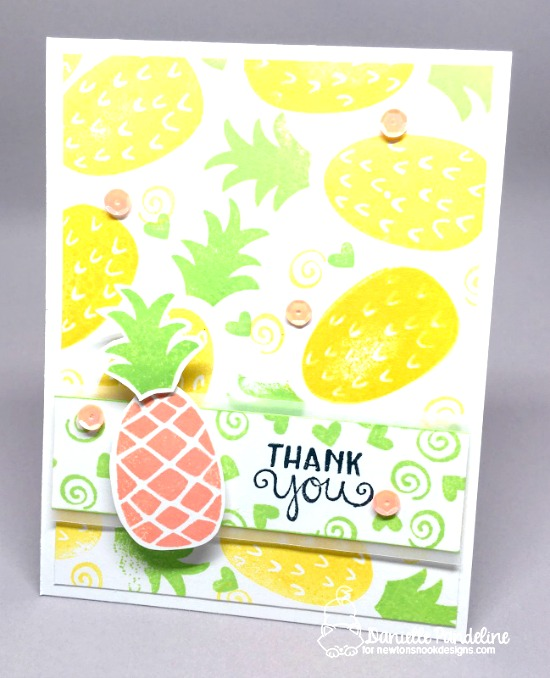 Thank You Pineapple Card by Danielle Pandeline | Pineapple Delight Stamp set by Newton's Nook Designs #newtonsnook