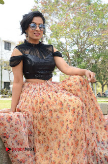 Actress Chetana Uttej Stills in Floral Long Skirt at Pichiga Nachav Movie Press Meet  0082.JPG