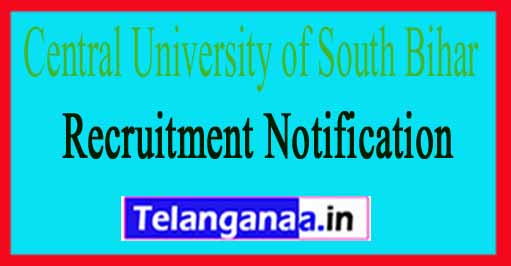 Central University of South Bihar CUSB Recruitment Notification 2017