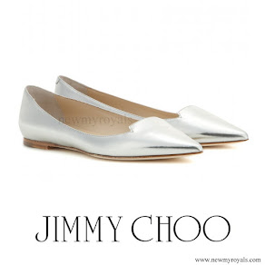 Princess Charlene wore Jimmy Choo Metallic Attila Mirrored-Leather Point-Toe Flats