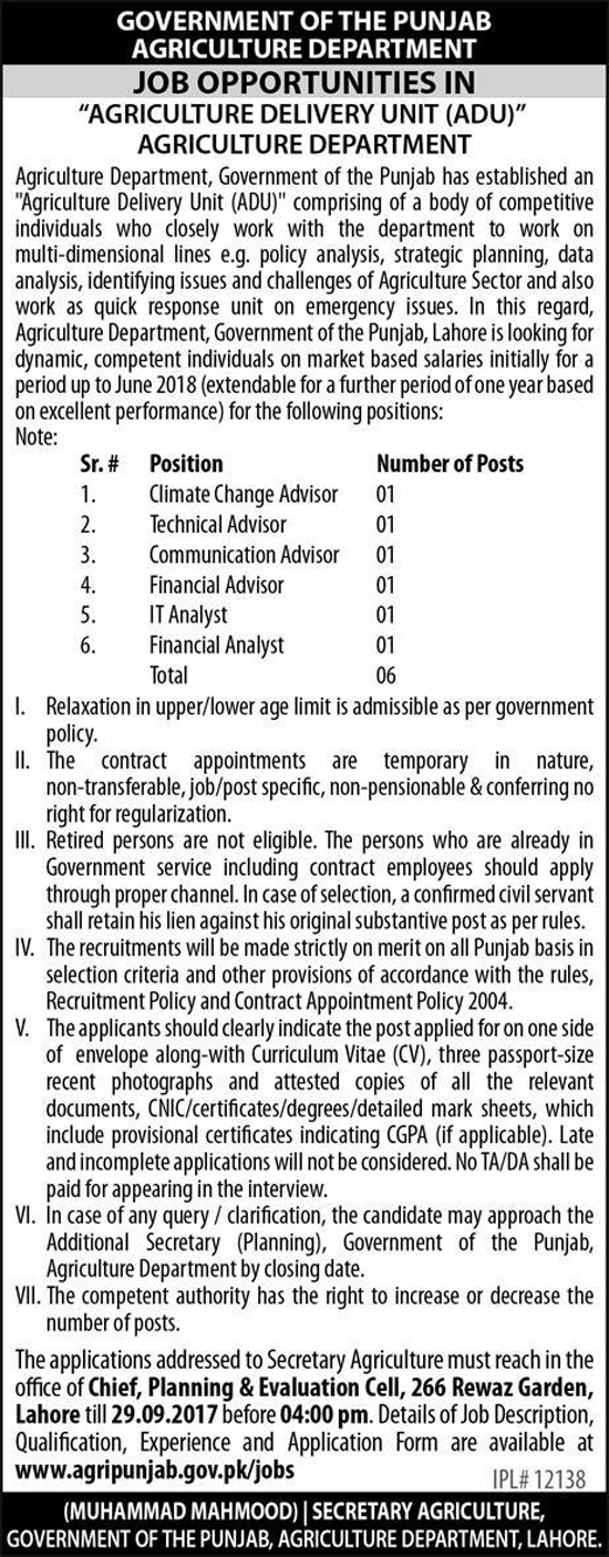 Jobs In Agriculture Department Lahore Punjab Sep 2017