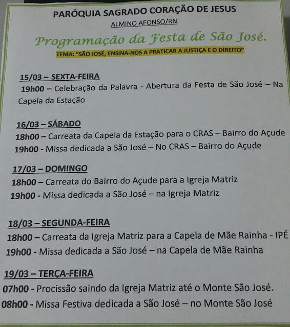 Paróquia de Almino Afonso divulga programação da festa em honra a São José 2019