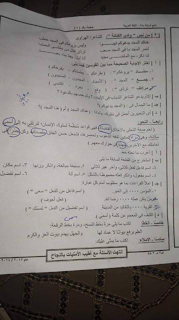 امتحان اللغة العربية للصف الثالث الاعدادى الفصل الدراسي الثاني 2018 محافظة السويس