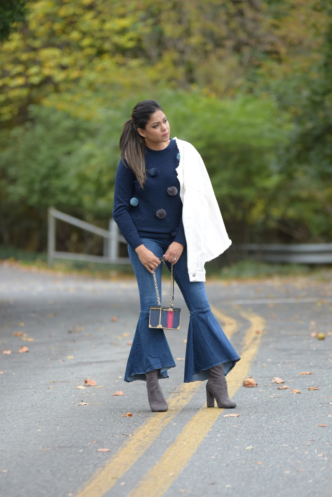 how to wear a pom pom sweater, five enduring fashion myths, ruffle hem jeans, sock booties, banana republic sweater, fashion, street style, myriad musings