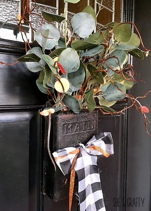 Fall vintage mailbox door hanger, fall front door hanger, wreath alternative