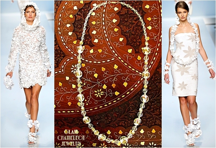 Glam Chameleon Jewelry clear flower glass beads necklace