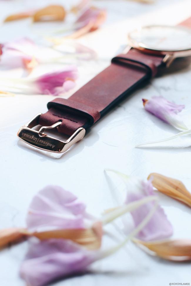 日本人ファッションブロガー,Mizuho K,NewIn-ダークレッドベルトの時計,Oslo Andreas Ingeman ミニマルで綺麗な時計