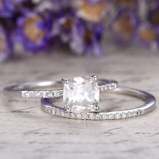 2pcs 6mm Moissanite Engagement Ring with diamond set,stacking matching Wedding Band,prong Set,14K white Gold halo moissanite ring.gifts