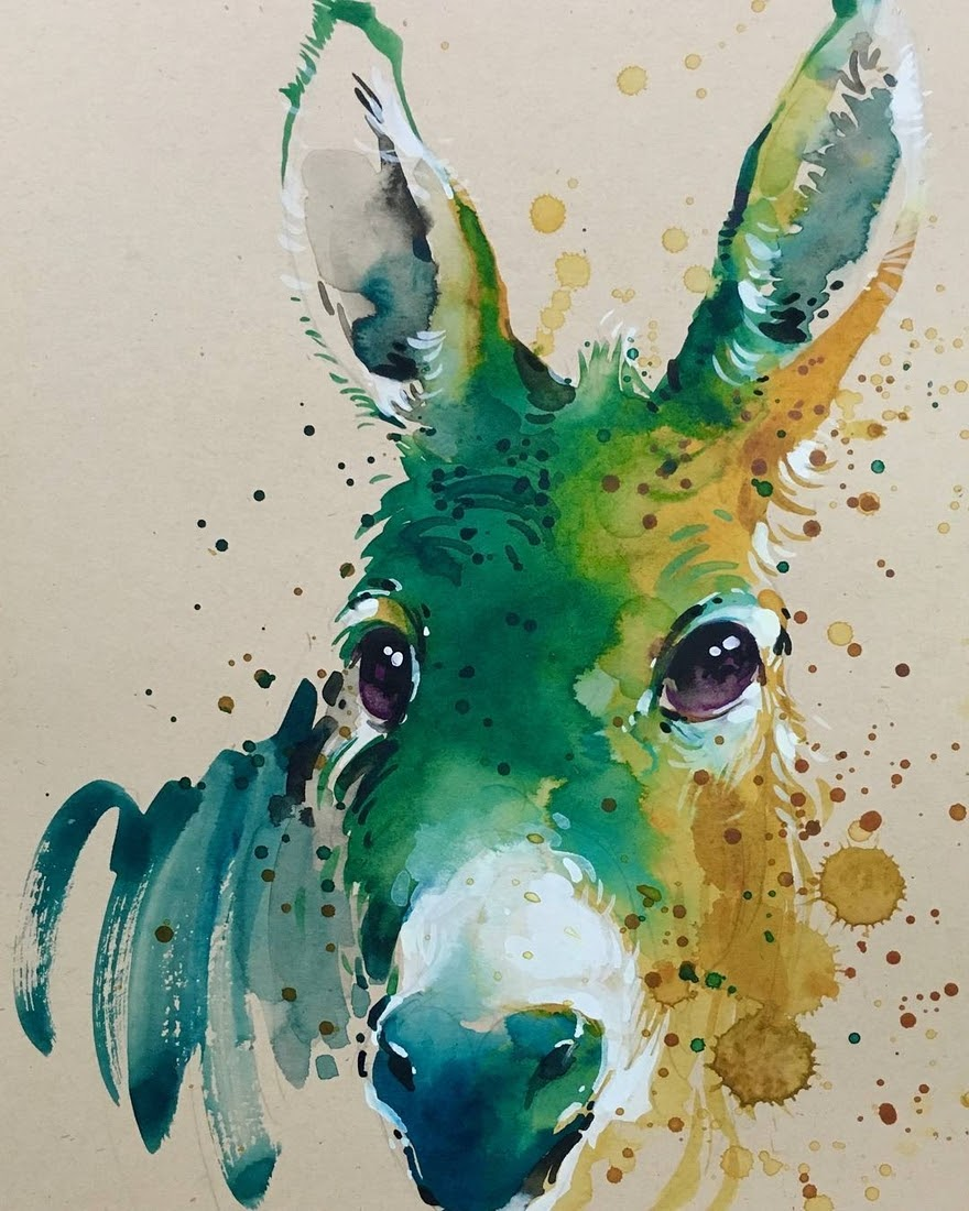 11-Donkey-Tilen-Ti-Paintings-of-Animals-with-Splashes-of-Paint-www-designstack-co