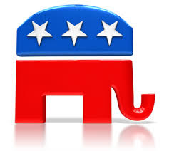 News report with obama care symbol of red whit and blue elephant