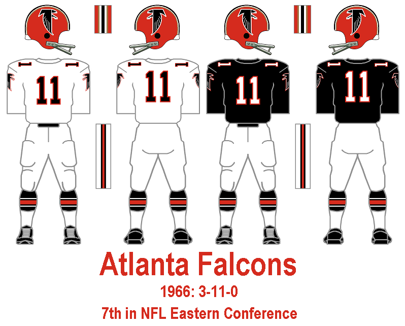 3c3f9071 1967: Perhaps because the black falcon on the sleeves of the black jersey  gets visually lost from a distance, the Falcons change the sleeve logos to  white ...