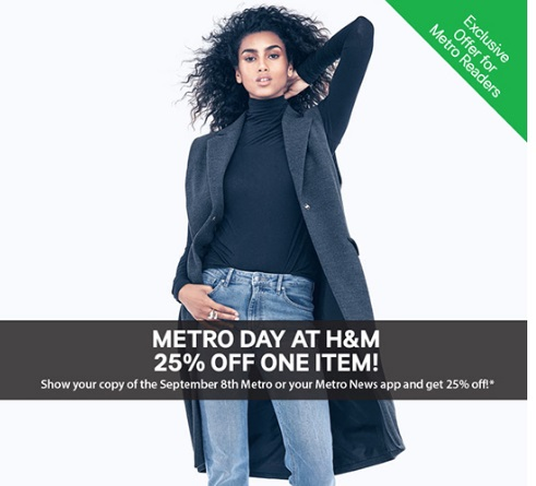 H&M Metro Day 25% Off One Item Coupon