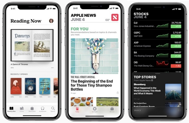 iOS 12 Apple Books, Apple News, Stock App
