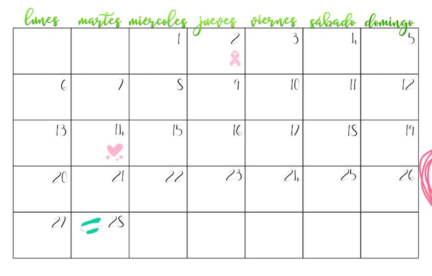 Cuerpo del calendario - Días