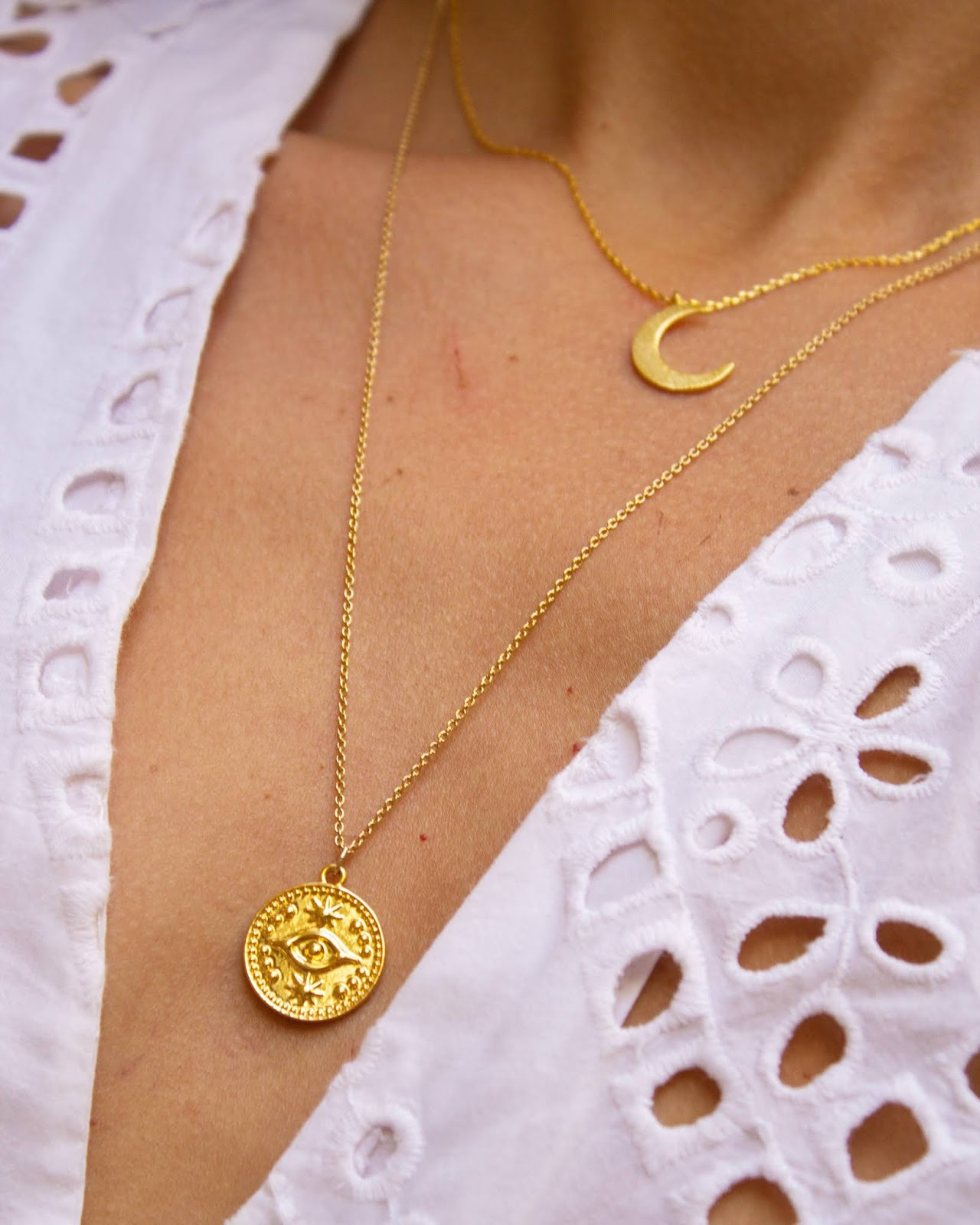 pico the store, pico jewellery, nazar, evil eye, hand of fatima, necklace, handmade, artisan, gold plated, gift idea, necklace layering, layered, boho