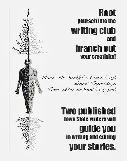 Creative writing club flyer... Professor initiates