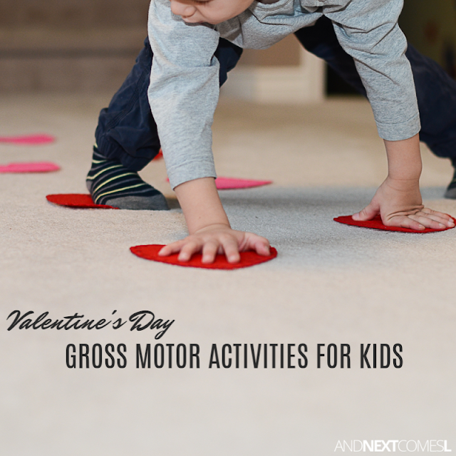 Valentine's gross motor activities for kids using a package of hearts from the dollar store