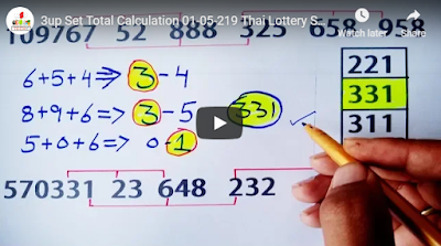 Thailand lottery Direct 3up Set Total Calculation 01 May 2019