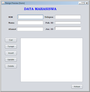 Kelas Informatika - Interface Netbeans Program Data Mahasiswa Nimbuss Preview