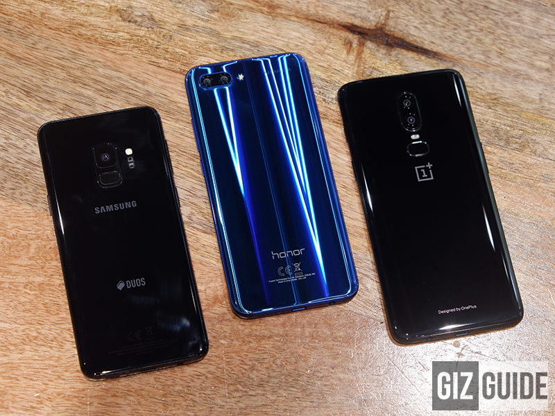 Samsung Galaxy S9 vs. Honor 10 vs. OnePlus 6 - Flagship AI Smartphones Comparison