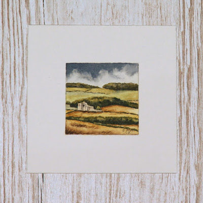 Scottish Borders harvest landscape with castle watercolour painting