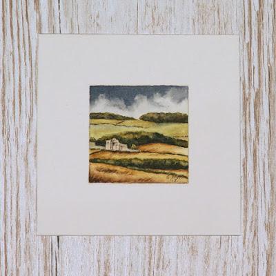 Scottish Borders harvest landscape with castle watercolour painting