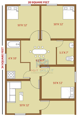 3 bed room house design plan | low cost house design