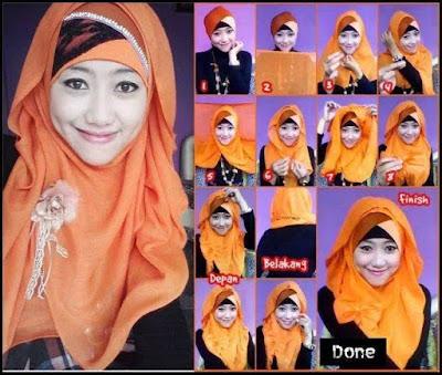Cara Pakai Hijab Segi Empat Berkreasi