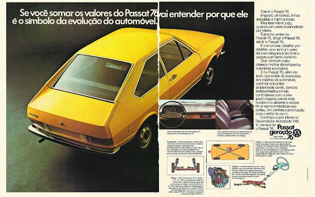 Propaganda do Passat em 1976: evolução da linha esportiva da Volkswagen.
