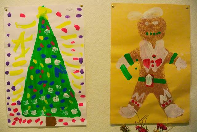 christmas tree, gingerbread man, art
