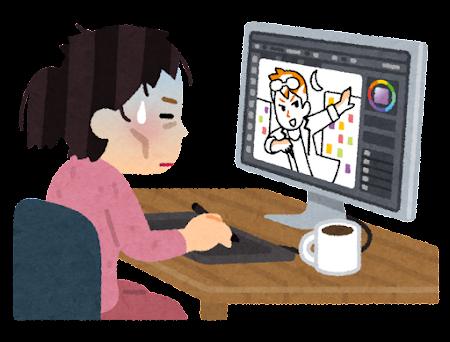 徹夜で絵を描くイラストレーターのイラスト(女性)