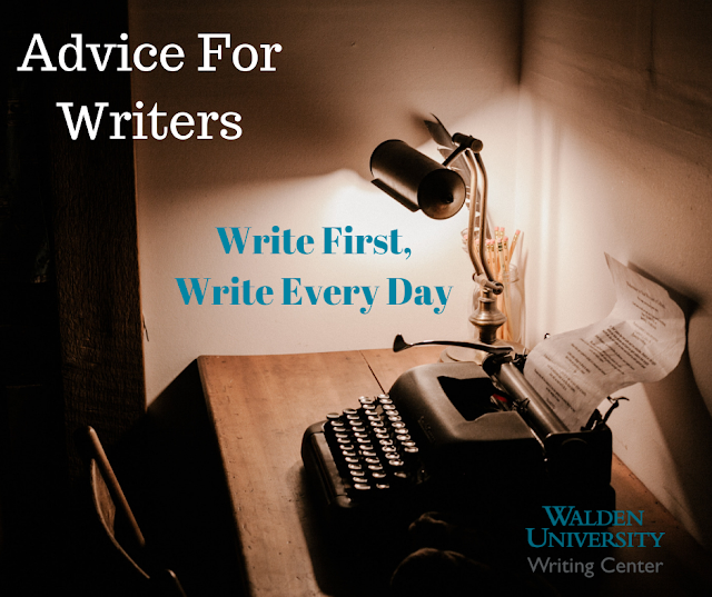 "Solitary writing desk with typewriter and lamp. Text: ""Advice for Writers: Write first, write everyday"