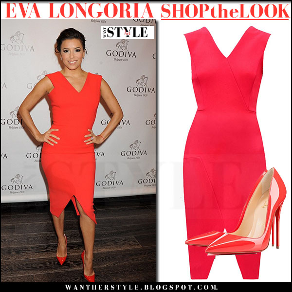 Eva Longoria in red dress and red pumps christian louboutin so kate what she wore party outfit