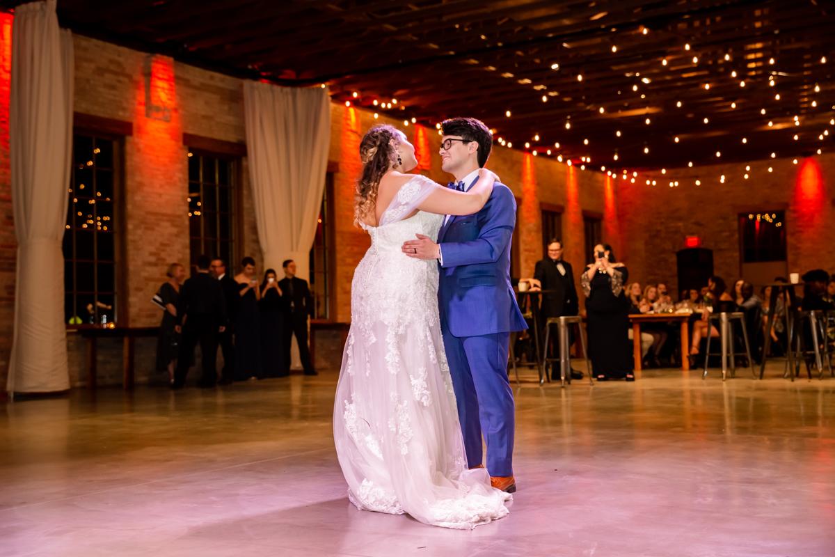 Newlywed Enjoying Their First Dance