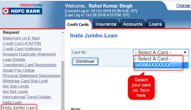 Select card for HDFC Insta Jumbo loan