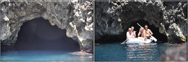 Estrecha entrada a la Cueva Azul por la que apenas puede pasar una barca. Bisevo, Croacia
