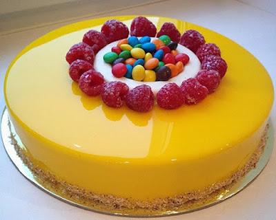 Cara Membuat Resep Manggo Cake Mirror Glaze