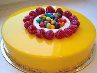 Resep Mango Cake Mirror Glaze a.k.a Cake Mangga Icing Cermin Berkilau