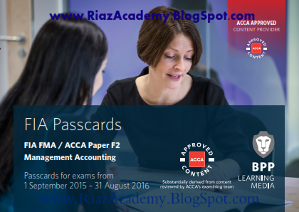 2016-ACCA-F2-PASSCARDS - MANAGEMENT ACCOUNTING