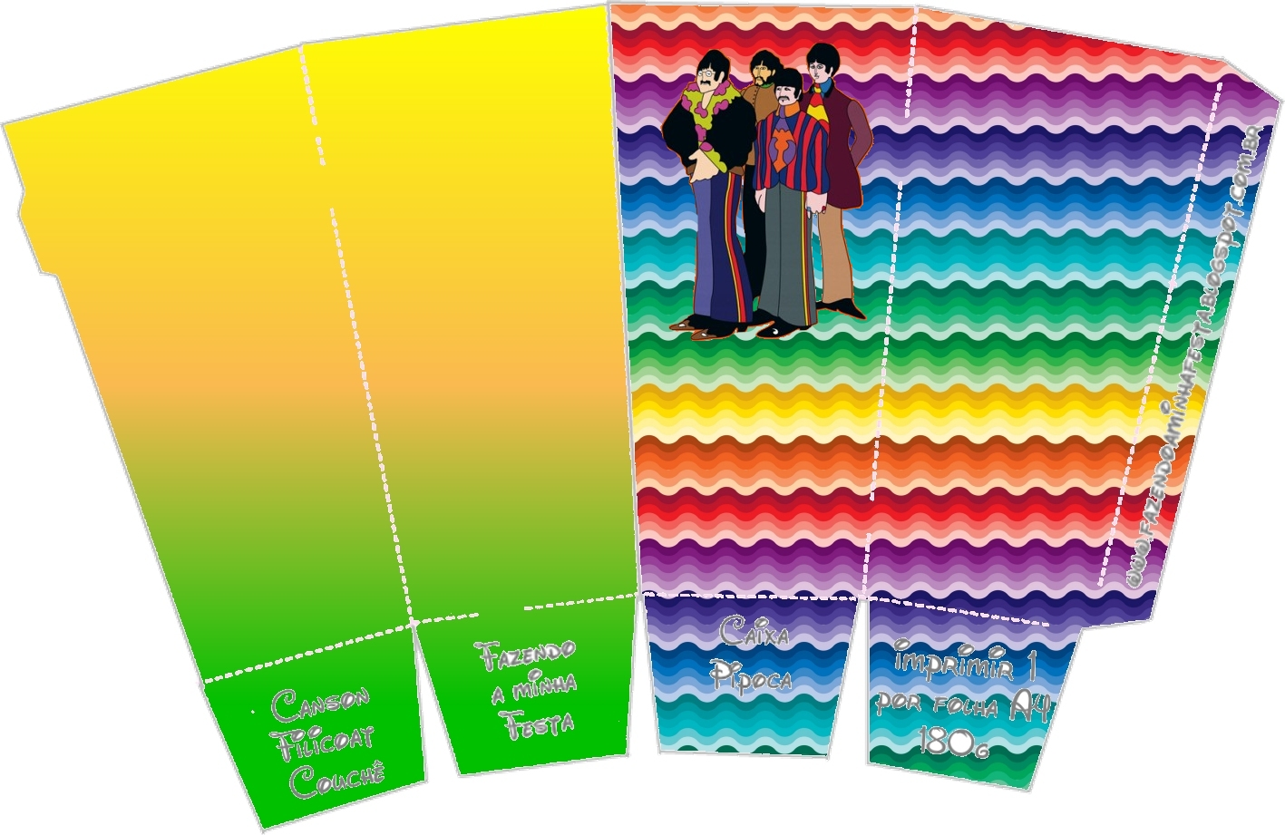 Beatles Yellow Submarine: Free Printable Boxes.