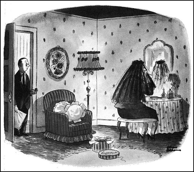 a Charles Addams cartoon of an eager widow